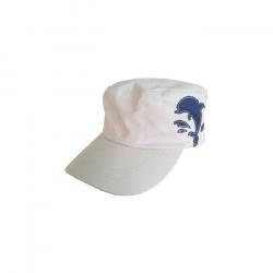 海豚縫布軍帽-米